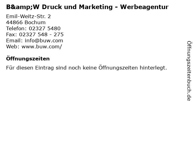 B&W Druck und Marketing - Werbeagentur in Bochum: Adresse und Öffnungszeiten