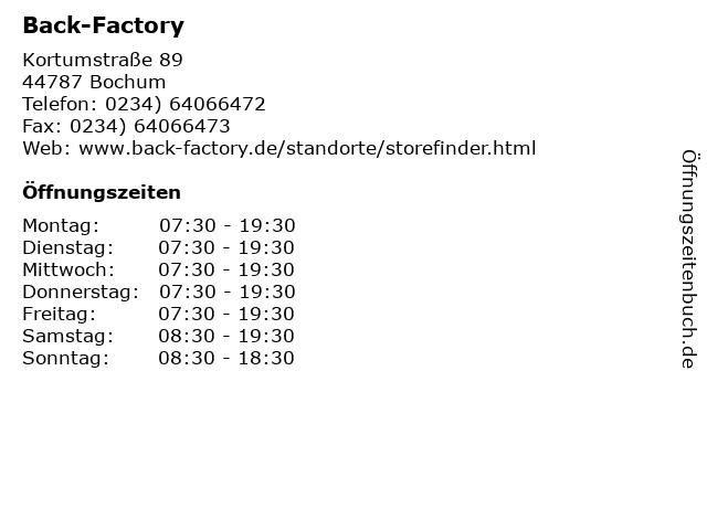 Back-Factory in Bochum: Adresse und Öffnungszeiten