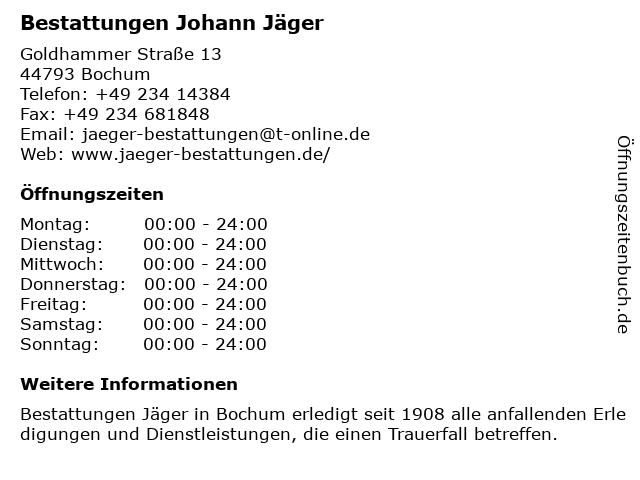 Bestattungen Johann Jäger in Bochum: Adresse und Öffnungszeiten