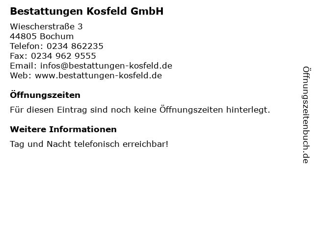 Bestattungen Kosfeld GmbH in Bochum: Adresse und Öffnungszeiten