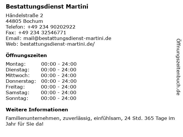 Bestattungsdienst Martini in Bochum: Adresse und Öffnungszeiten