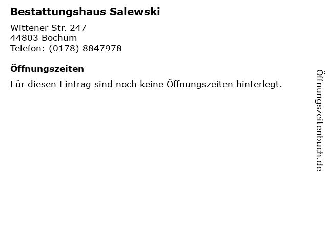 Bestattungshaus Salewski in Bochum: Adresse und Öffnungszeiten
