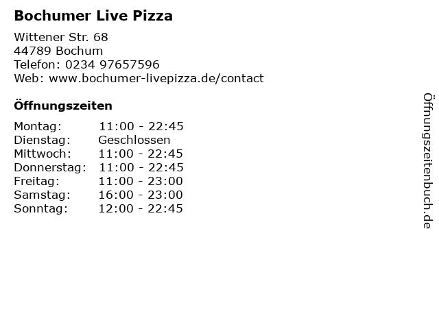 Bochumer Live Pizza in Bochum: Adresse und Öffnungszeiten