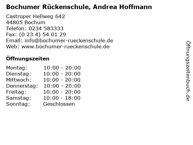 Bochumer Rückenschule, Andrea Hoffmann in Bochum: Adresse und Öffnungszeiten
