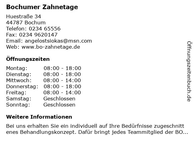 Bochumer Zahnetage in Bochum: Adresse und Öffnungszeiten