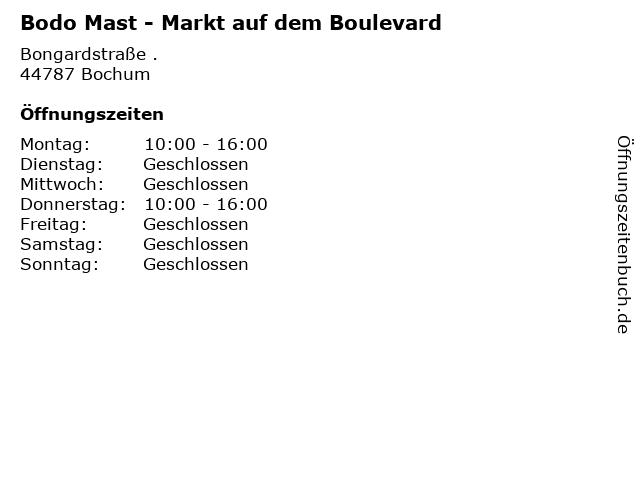 Bodo Mast - Markt auf dem Boulevard in Bochum: Adresse und Öffnungszeiten