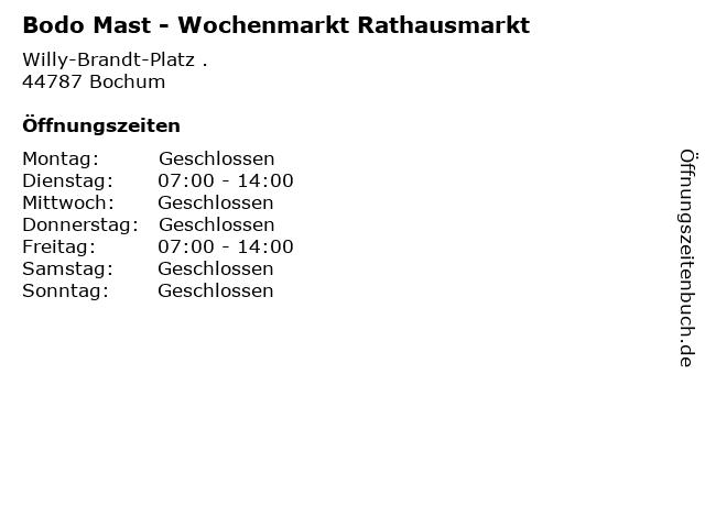 Bodo Mast - Wochenmarkt Rathausmarkt in Bochum: Adresse und Öffnungszeiten