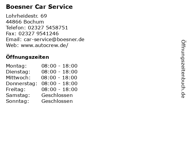 Boesner Car Service in Bochum: Adresse und Öffnungszeiten