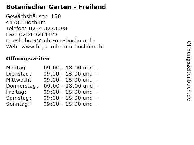 Botanischer Garten - Freiland in Bochum: Adresse und Öffnungszeiten