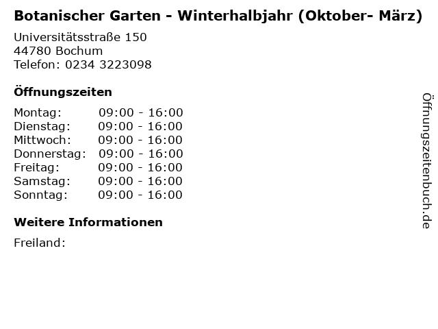 Botanischer Garten - Winterhalbjahr (Oktober- März) in Bochum: Adresse und Öffnungszeiten