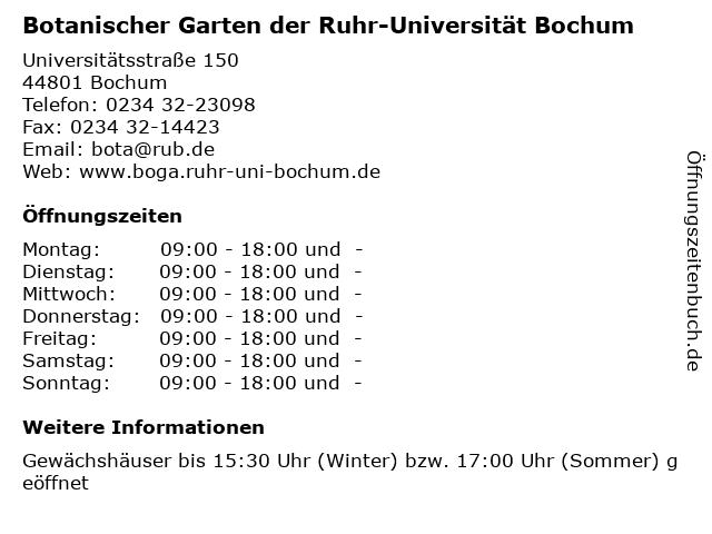 Botanischer Garten der Ruhr-Universität Bochum in Bochum: Adresse und Öffnungszeiten