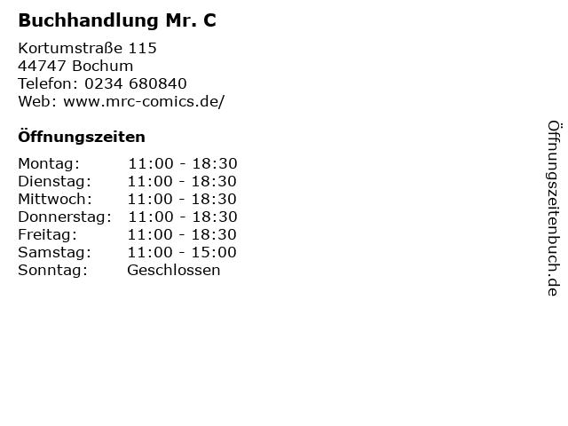 Buchhandlung Mr. C in Bochum: Adresse und Öffnungszeiten