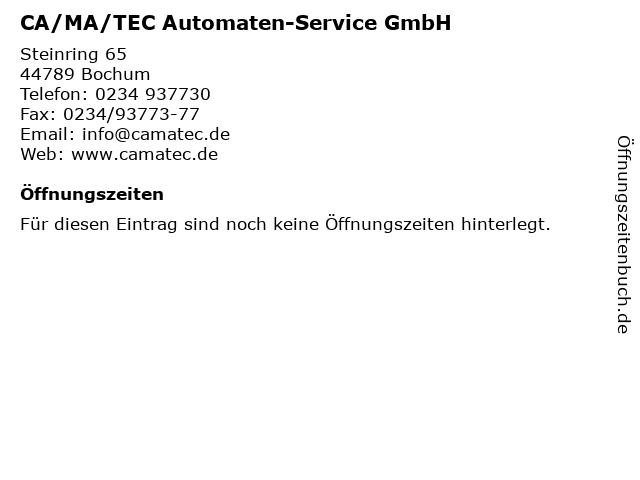 CA/MA/TEC Automaten-Service GmbH in Bochum: Adresse und Öffnungszeiten