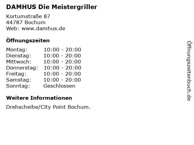 DAMHUS Die Meistergriller in Bochum: Adresse und Öffnungszeiten