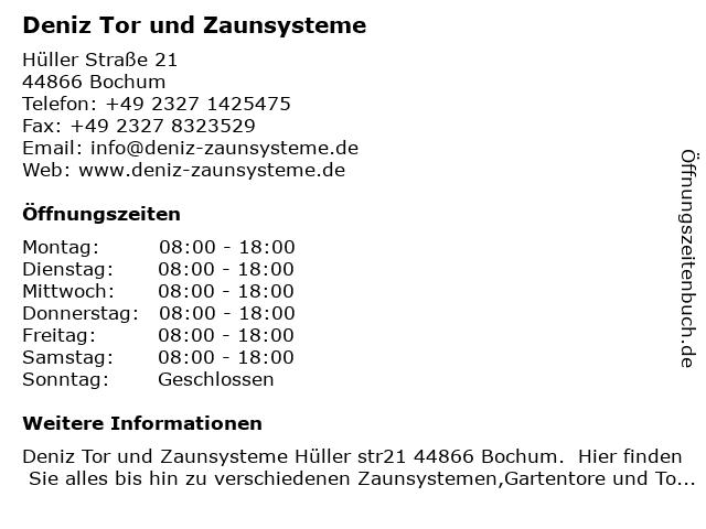 Deniz Tor und Zaunsysteme in Bochum: Adresse und Öffnungszeiten
