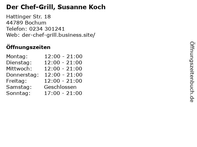 Der Chef-Grill, Susanne Koch in Bochum: Adresse und Öffnungszeiten