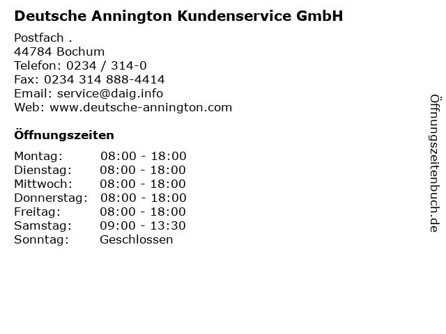 Deutsche Annington Kundenservice GmbH in Bochum: Adresse und Öffnungszeiten