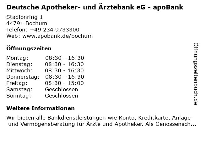 Deutsche Apotheker- und Ärztebank eG - apoBank in Bochum: Adresse und Öffnungszeiten