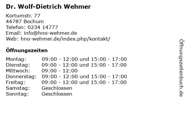 Dr. Wolf-Dietrich Wehmer in Bochum: Adresse und Öffnungszeiten