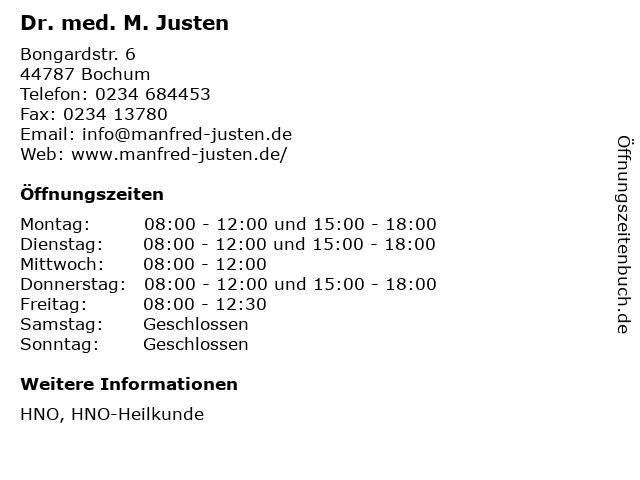 Dr. med. M. Justen in Bochum: Adresse und Öffnungszeiten