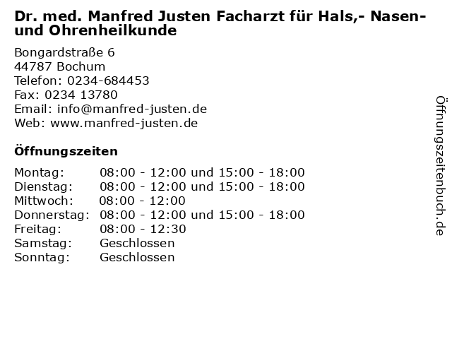 Dr. med. Manfred Justen Facharzt für Hals,- Nasen-und Ohrenheilkunde in Bochum: Adresse und Öffnungszeiten