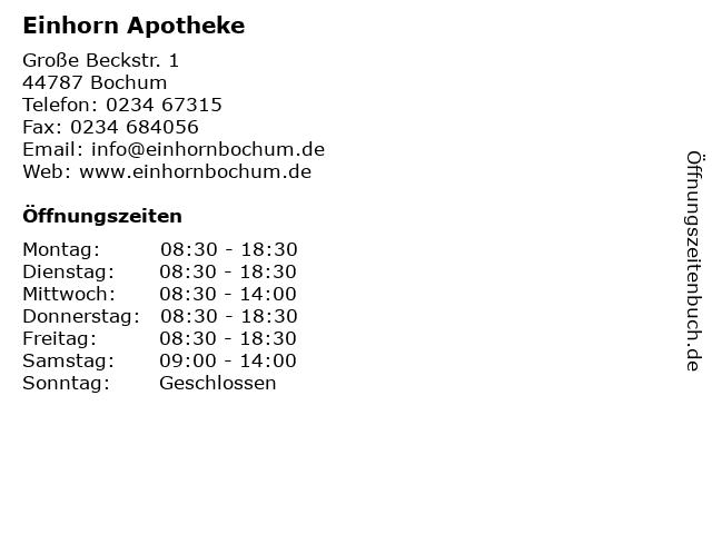 Einhorn Apotheke in Bochum: Adresse und Öffnungszeiten