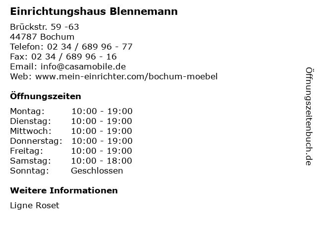 "Blennemann Bochum ᐅ Öffnungszeiten ""casa mobile blennemann"" | brückstr. 59 -63 in bochum"