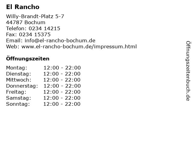 El Rancho in Bochum: Adresse und Öffnungszeiten