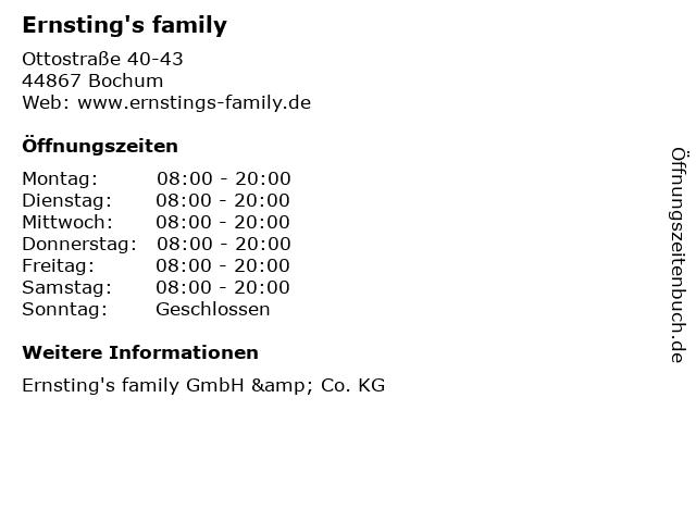 Ernsting's family GmbH & Co. KG in Bochum: Adresse und Öffnungszeiten