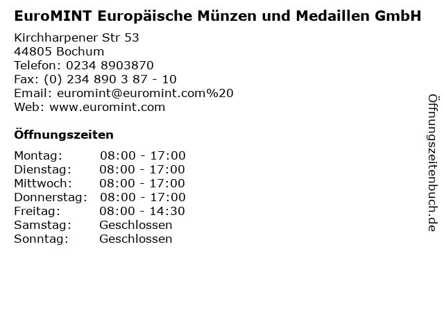ᐅ öffnungszeiten Euromint Europäische Münzen Und Medaillen Gmbh