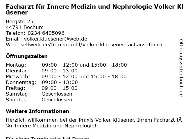 Volker Klüsener Facharzt für Innere Medizin und Nephrologie in Bochum: Adresse und Öffnungszeiten