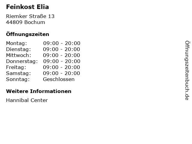 Feinkost Elia in Bochum: Adresse und Öffnungszeiten