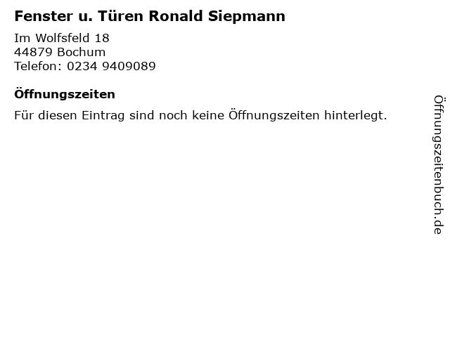Fenster u. Türen Ronald Siepmann in Bochum: Adresse und Öffnungszeiten