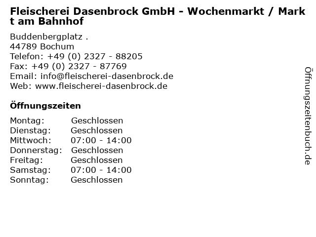 Fleischerei Dasenbrock GmbH - Wochenmarkt / Markt am Bahnhof in Bochum: Adresse und Öffnungszeiten