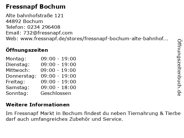 Fressnapf Bochum in Bochum: Adresse und Öffnungszeiten