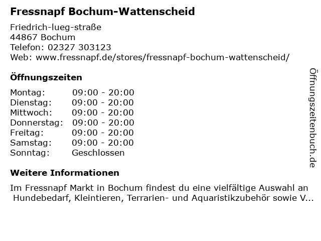 Fressnapf Bochum-Wattenscheid in Bochum: Adresse und Öffnungszeiten
