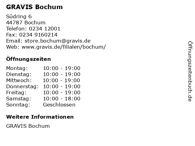 GRAVIS Bochum in Bochum: Adresse und Öffnungszeiten