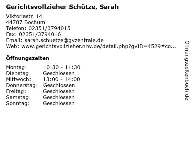 Gerichtsvollzieher Schütze, Sarah in Bochum: Adresse und Öffnungszeiten