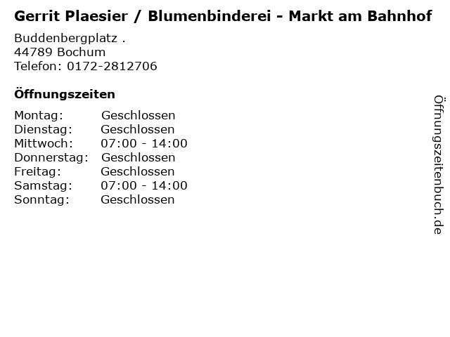 Gerrit Plaesier / Blumenbinderei - Markt am Bahnhof in Bochum: Adresse und Öffnungszeiten