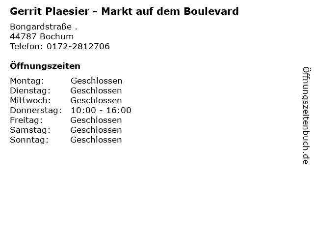 Gerrit Plaesier - Markt auf dem Boulevard in Bochum: Adresse und Öffnungszeiten