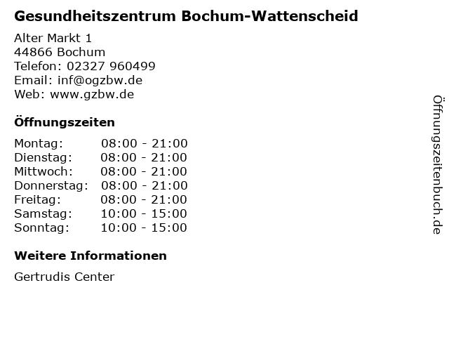 Gesundheitszentrum Bochum-Wattenscheid in Bochum: Adresse und Öffnungszeiten