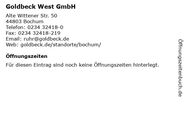 Goldbeck West GmbH in Bochum: Adresse und Öffnungszeiten