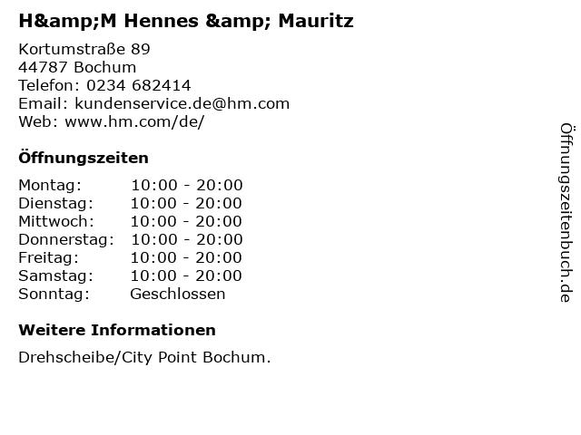 H&M Hennes & Mauritz in Bochum: Adresse und Öffnungszeiten