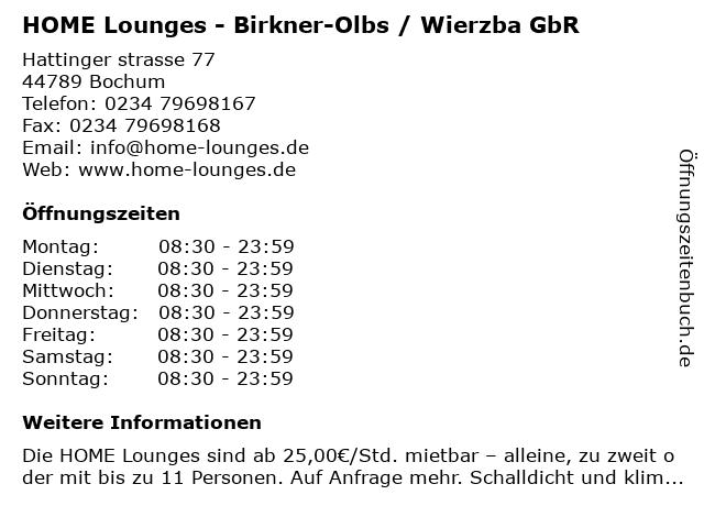HOME Lounges - Birkner-Olbs / Wierzba GbR in Bochum: Adresse und Öffnungszeiten