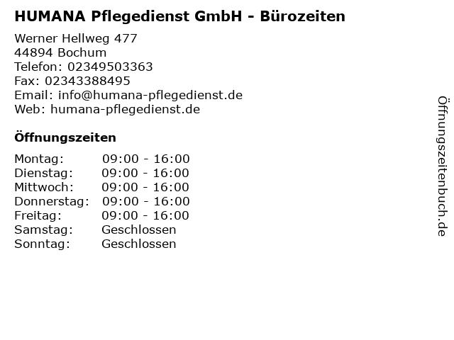 HUMANA Pflegedienst GmbH - Bürozeiten in Bochum: Adresse und Öffnungszeiten