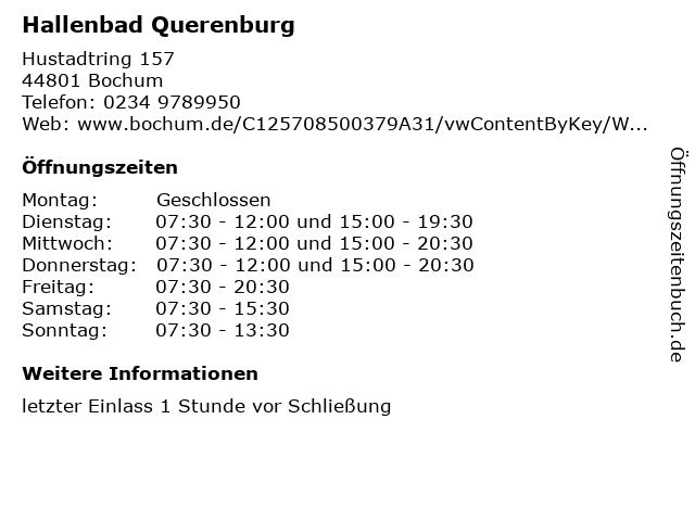 Hallenbad Querenburg in Bochum: Adresse und Öffnungszeiten