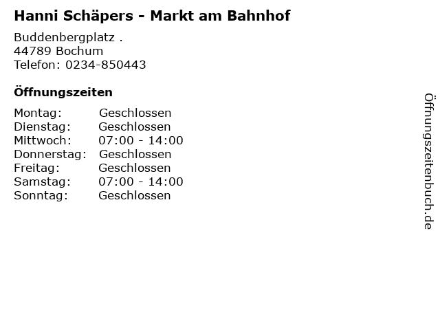 Hanni Schäpers - Markt am Bahnhof in Bochum: Adresse und Öffnungszeiten