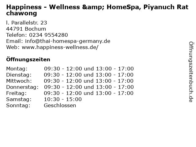 Happiness - Wellness & HomeSpa, Piyanuch Ratchawong in Bochum: Adresse und Öffnungszeiten