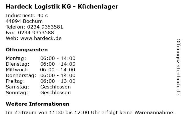 ᐅ öffnungszeiten Hardeck Logistik Kg Küchenlager Industriestr