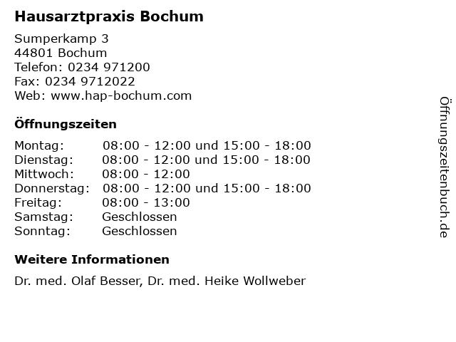 Hausarztpraxis Bochum in Bochum: Adresse und Öffnungszeiten